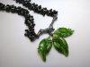 Leaf Neck piece, cast Sterling Silver branch & Glass