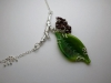 Leaf Neck piece, cast Sterling Silver branch & Glass