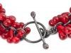 Bracelet - Detail, Red Glass & Silver