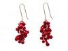 Earrings Hook Red Glass & Silver