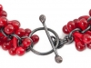 Bracelet - Detail, Red Glass & Silver