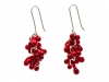 Earrings Hook Red Glass & Silver