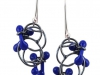 Earrings Sketch Book Lines Blue Glass & Silver Oxidised