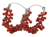 Hoop Earrings Red Glass & Silver Oxidised