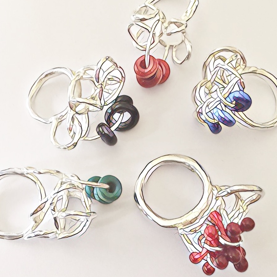 Silver rings with lampworked glass - mosaic image