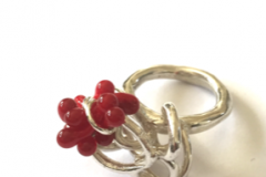 Silver ring with lampworked glass