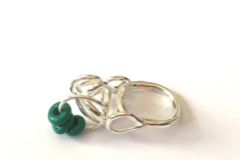 Silver rings with lampworked glass