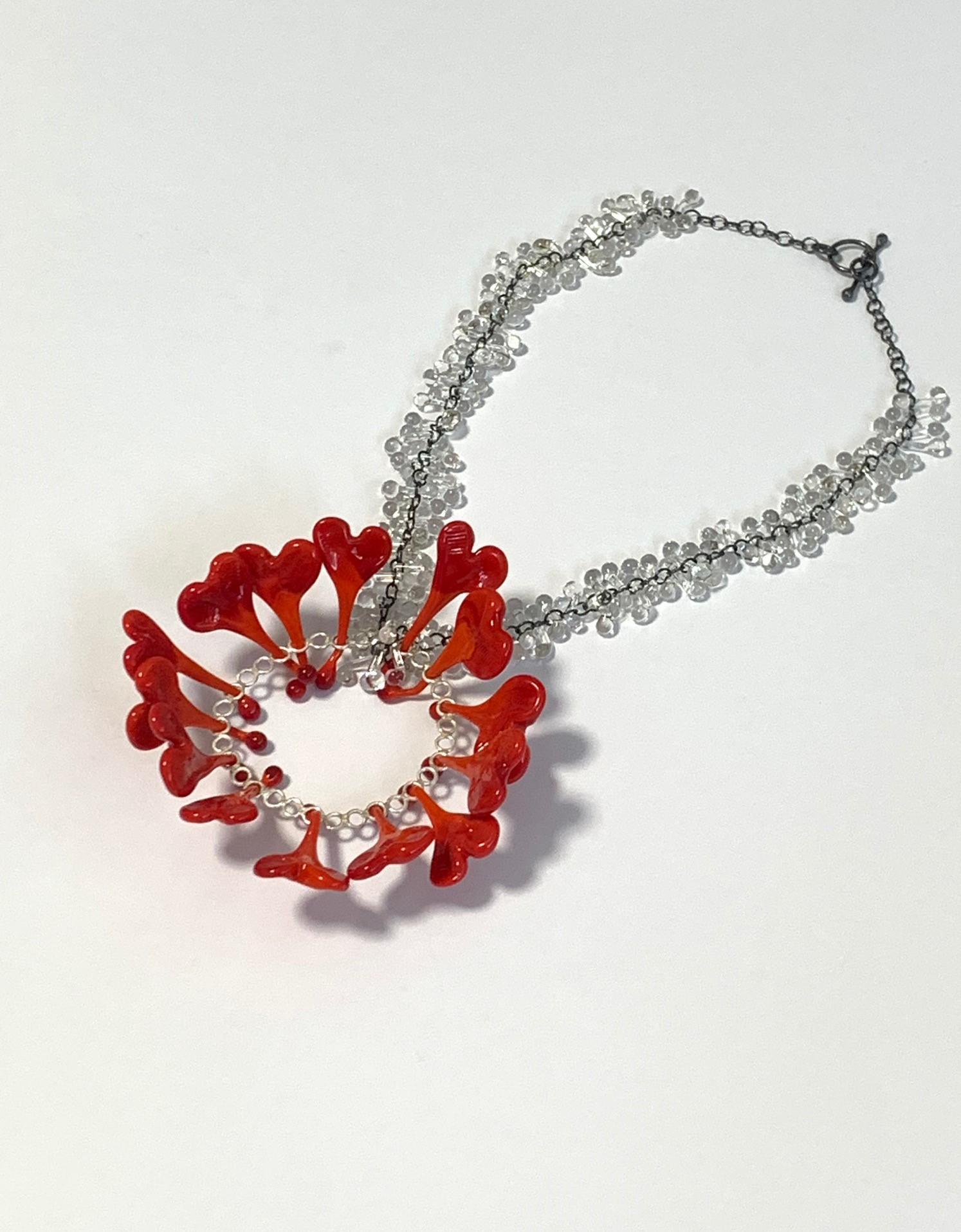 """""""Hang in there, stay safe"""" Neckpiece - lampworked glass, silver, 2021"""
