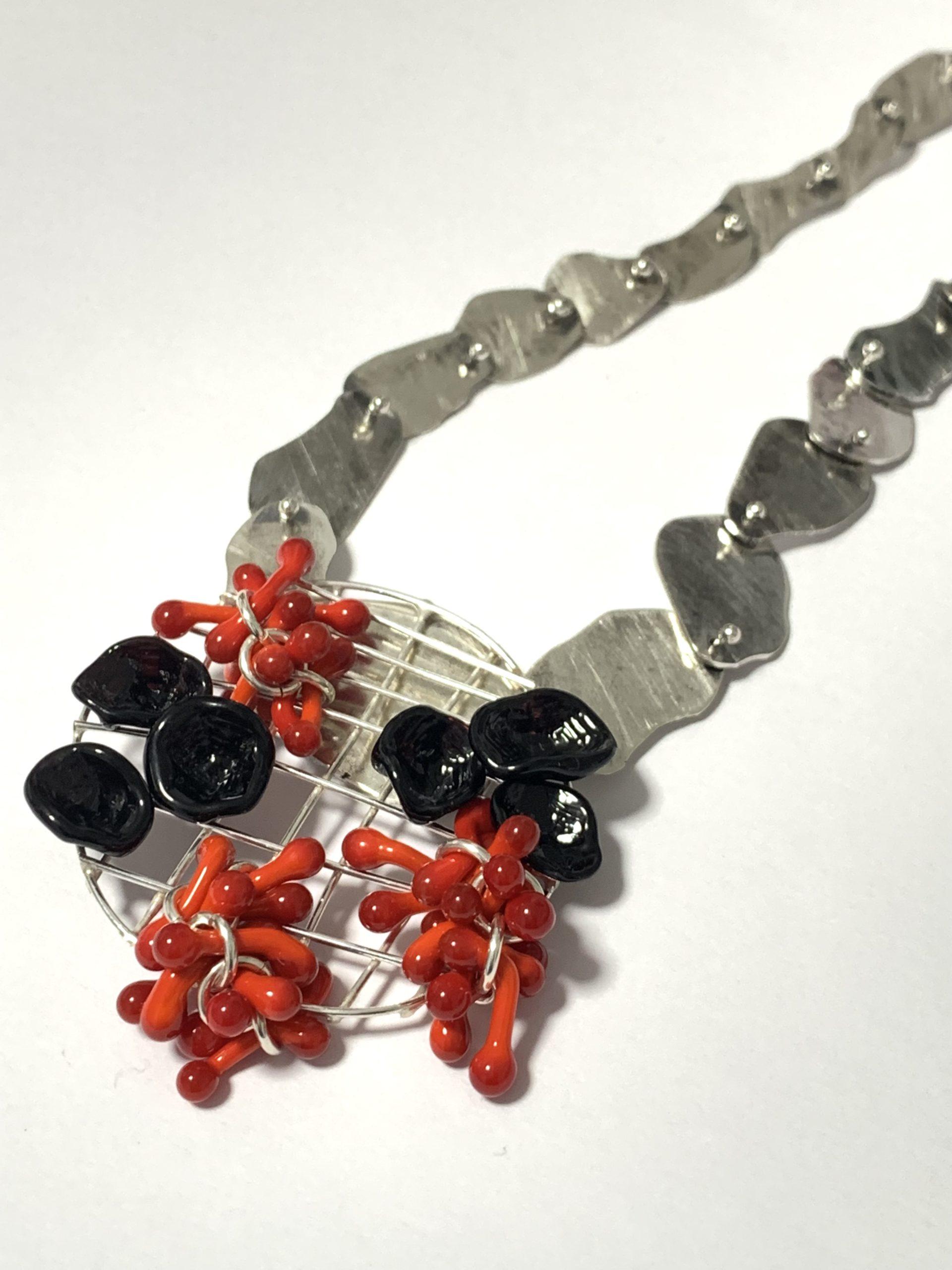 """Cluster"" Neckpiece - lampworked glass, silver, 2021"