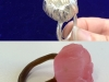 lost wax cast silver pod ring - before and after