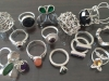 Group of silver stone set rings